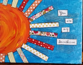 you are my sunshine mixed media canvas art kids room decor original collage - Colorful Art