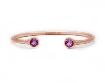 Gemstone Bangle - Rose Gold Bangle - Adjustable / Malleable Bangle Cuff Bracelet - Natural Amethyst Gemstones