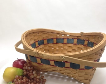"LARGE wicker basket, swivel handles knitting storage tote Longaberger style 16"" x 13"" opening 8.5"" deep with handle 13"" tall yesteryears"