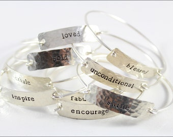 Sterling Silver Cuff Bracelet | One Word Personalized Cuff Bracelet, Inspiration Bracelet, Small Gifts for Her, Hand Stamped Jewelry