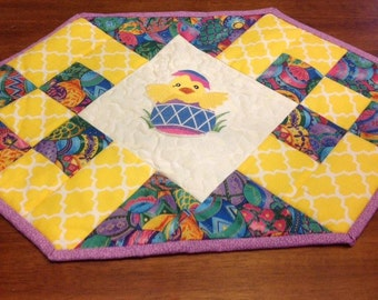 Quilted and Machine Embroidered Easter Table Runner