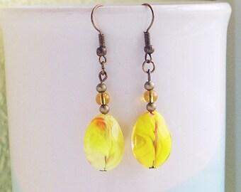 Yellow Beaded Earrings, Yellow Teardrop Earrings, Yellow Glass Earrings, Mis-Matched Earrings With Bronze-Plated Ear-Wires