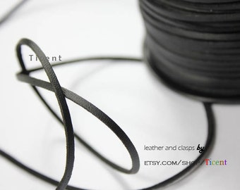 10 Yards 3mm Patent Faux Suede Leather, Black Coated Suede Leather CS3M171