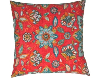 Indoor/Outdoor Pillow Cover, Bright Red and Blue Botanical Print,  Indoor Outdoor Solarium Fabric, 20 x 20 Inches