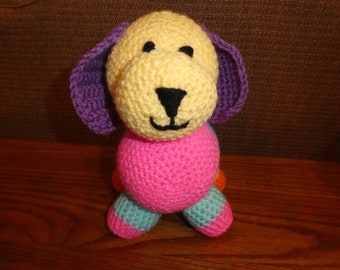 Puppy, stuffed animal, Patchwork puppy, crochet puppy, kids toy, baby toy, gifts