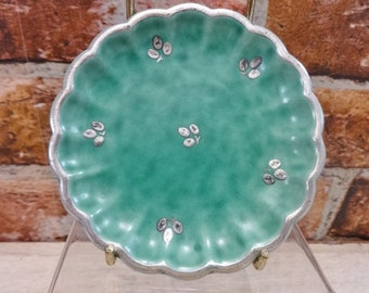 Small Gustavsberg Sweden Argenta Silver Overlay Pottery plate / dish Leaves Scallops Kage
