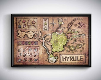 Map of Hyrule from Legend of Zelda, Ocarina of Time - English or Hylian, Zelda Map, Hyrule Map 11x17 or 13x19