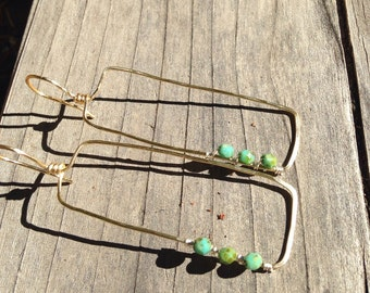 Gold Rectangle earings with three picasso beads- Ready to ship