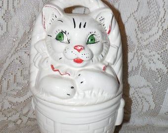 Vintage Pottery Cat Kitten In A Basket Cookie Jar