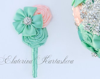 boutonniere for mint blue mint peach brooch bouquet