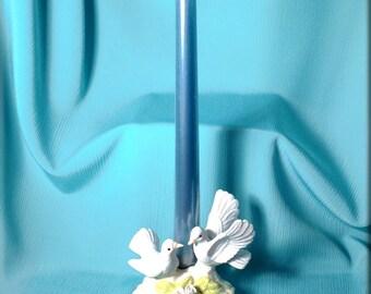 Porcelain Lovebird Candle Holder
