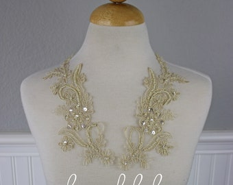 Soft Gold Beaded and Sequin Appliqué Pair