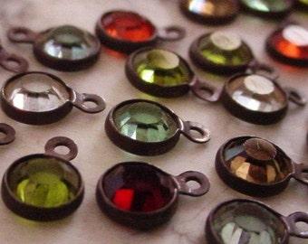 24pc Tiny 4mm Swarovski Crystal Channel Vintage Mini Drop Charm 17ss Round 1 Ring Loop Setting Hand Oxidized Brass Dark Bronze Patina Lot 4K