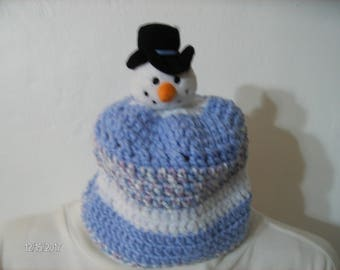 Crochet Baby Winter Snowman Hat sized to fit 18 to 30 months