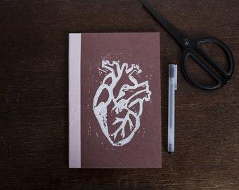 Notebook A5-Anatomical Heart linocut