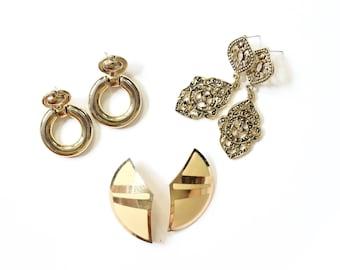 Earrings Lot Statement Jewelry Door Knockers Hoops Dangle Filigree Large Enamel 80s Geometric 1980s Gold Tone Metal Accessories Posts