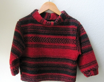 Kids Fleece Berber Soft Pullover Unisex Gender Neutral Black and Red Stripe Sweater Jacket Size 2T