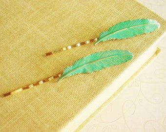 Pair of Teal Patina Gold Feather Bobby Pins, Rustic Verdigris Bird Feather Hair Pins, Turqoise Blue Green