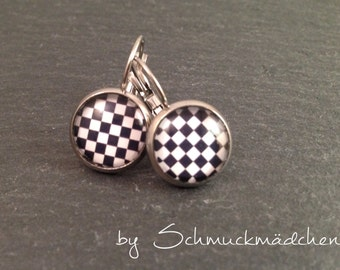 Earrings earrings stainless steel Chess Board