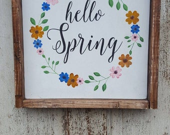 Hello Spring farmhouse sign, 14x14, framed sign, handpainted, handmade, spring