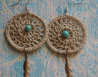 Boho Crochet Earrings, Crochet, Jewelry, Crochet Earrings, Bohemian Earrings, Dreamcatcher, Boho
