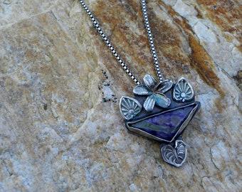 sterling plumeria pendant with charoite, garden necklace