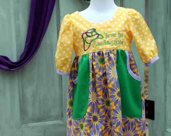 Mardi Gras Dress with Pockets