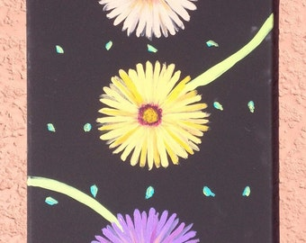 """THREE GERBERA DAISIES no. 2 is a colorful, whimsical, graphic, original, acrylic painting 12""""x24""""."""