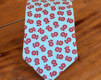 Boys Blue Red Floral Necktie, boy's flower cotton tie, baby boy necktie, boys rustic wedding tie, toddler necktie, boys necktie, spring