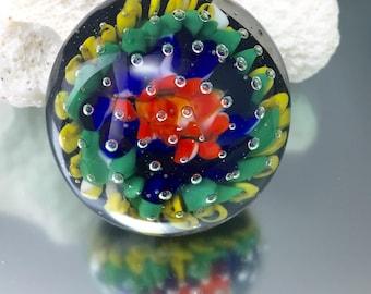 lampwork paperweight, air trap paper weight, soft glass sculpture, glass flower implosion, miniature paperweight, Julie VanEmber, flower