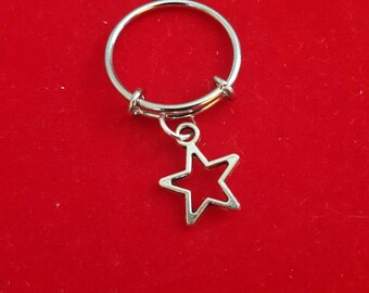Silver Adjustable Charm Ring