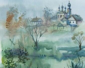 Original Art Painting Watercolor Landscape Home Decor Morning Village Landscape Watercolor paintings Wall Decor Art Painting Watercolor
