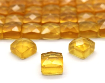 Square cabochons,Citrine cabochons,faceted cabochons,faceted gemstones,semiprecious stones,jewelry supplies - AA Quality - 1 Stone