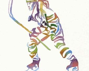 Ice Hockey Print, Hockey Wall Art, Hockey Painting, Olympic Sport Art, Athlete Painting, Sport Watercolor, Home Decor, Birthday Boy Man Gift
