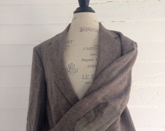 Vintage Wool Plaid Professor's Jacket  w Suede Gray Elbow Patches
