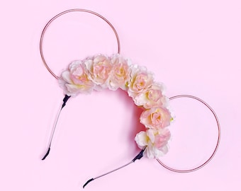 Pale Pink Flower Crown and Rose Gold Wire Mouse Ears Headband
