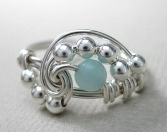 Pi -- Wire Wrapped Ring Amazonite and Sterling Silver Geek Pi Ring