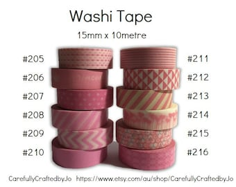 Washi Tape - Pink - 15mm x 10 metres - High Quality Masking Tape