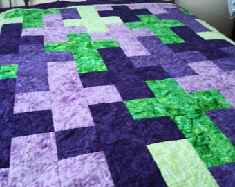 Patchwork Batik Quilt Cross and Dogwood  Design  Made for You