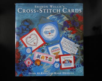 Cross Stitch Cards Hardcover, Sharon Welch Cross Stitch,  Vintage Cross Stitch Book,  Craft And Hobby Books, Craft Book