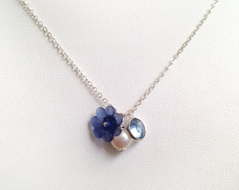 Pearl charm Necklace, flower girl necklace, dainty girl jewelry, kids pearls, girl jewelry blue accesories, flower girl gift pearls sale