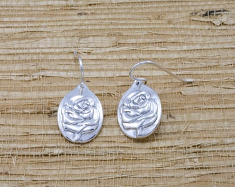 Silver rose earrings, sterling, french wires, June flower of the month, June birth month flower