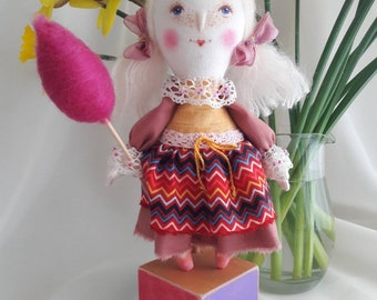 Handmade cloth doll Girl in the Circus-iwork toy fabric doll Personalized Rag doll with a pedestal