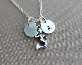Sterling Silver Mermaid Necklace with genuine Sea glass and Personalized Initial charm disc, Beach Jewelry, Eco Friendly Fashion