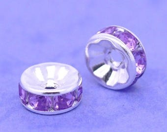 2 beads Intercalaires rhinestone purple acrylic 8x4mm