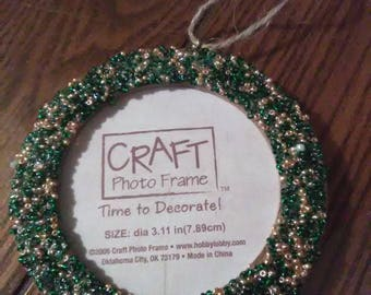 Beaded Photo Frame Ornament in Green & Gold