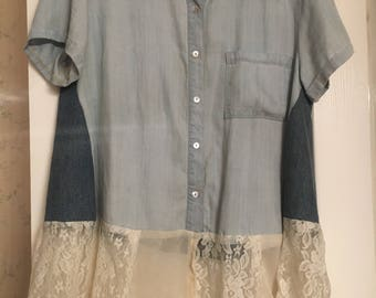 Chambray shirt with lace