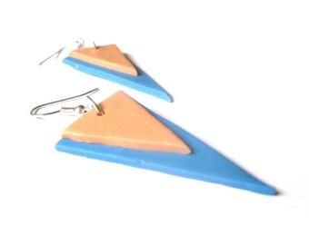 Blue Triangle Earrings ( modern earrings geometric earrings dangle earrings minimalist earrings silver earrings triangle jewelry geometric )