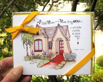 Cottage Note Cards - Home Quotes - Stationery Set of 4 Folded Notes