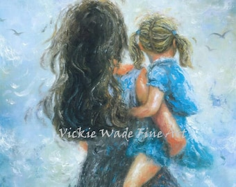 Mother Daughter Art Print, mother paintings, mom, blonde girl, mother's day gift, girls room blue, blue wall decor, brunette, Vickie Wade